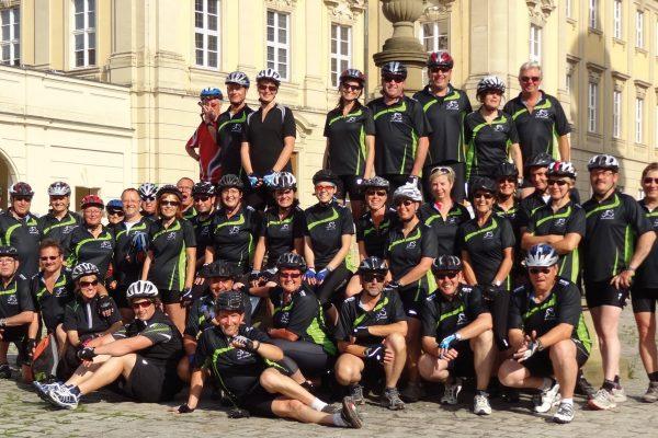 Great cycling group wearing casual bike shirts