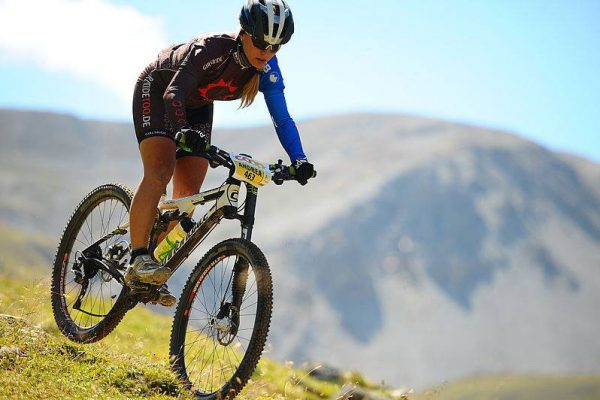 Cyclist Wearing Women's Knee Breeches