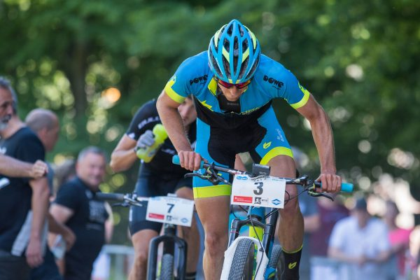 Cyclist wearing a DOWE SuperForm Race Short-Sleeve Jersey