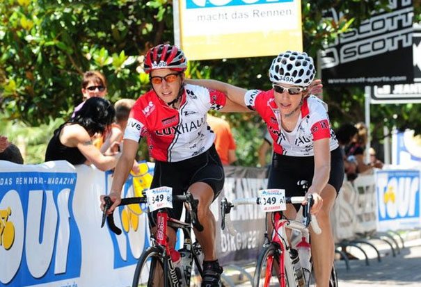 Two Cyclists Wearing a SuperForm Short-Sleeve Jersey
