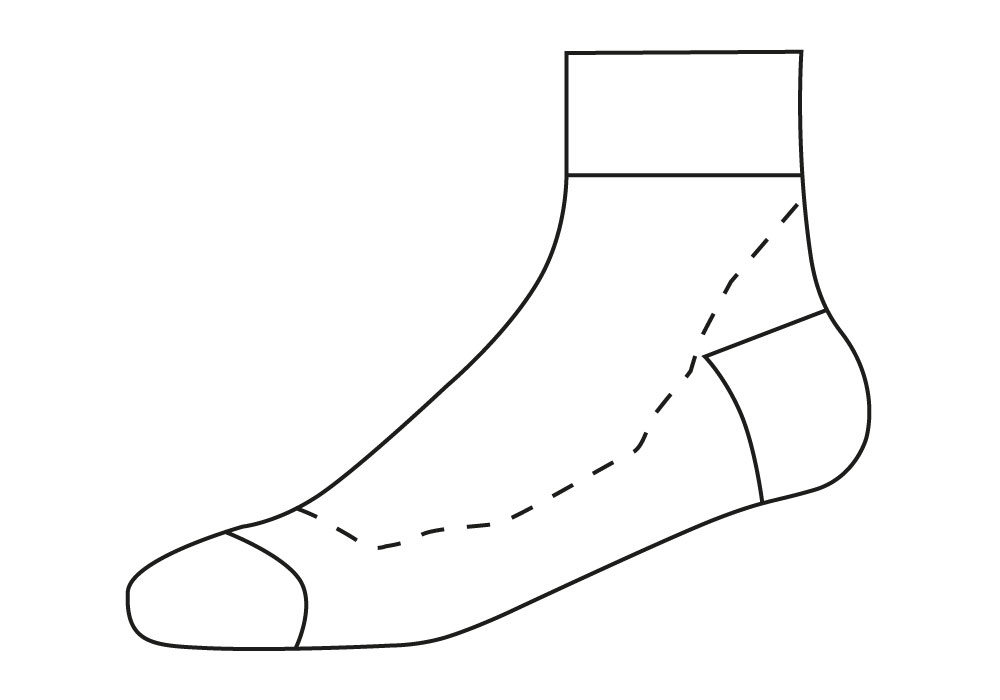 Cycling Socks Sectional View