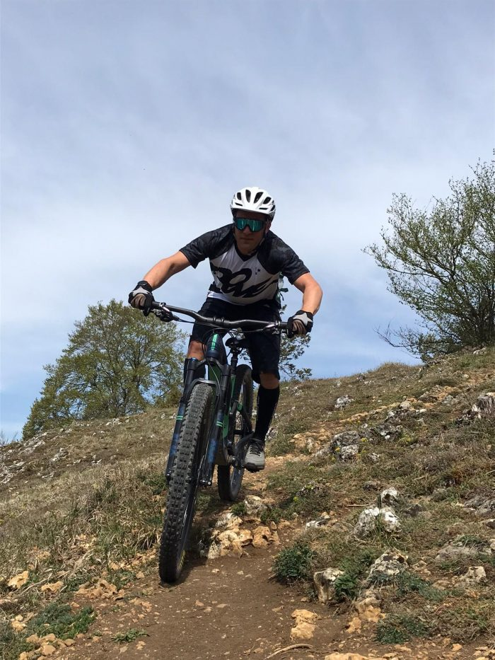 Mountain Biker on a downhill trail