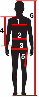 Größentabelle Schaubild - Ein Mann mit Körperregionen und zugeordneten Zahlen (1-6)
