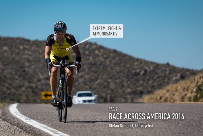 DOWE Sportswear beim Race Across America 2016 mit Ultracyclist Stefan Schlegel