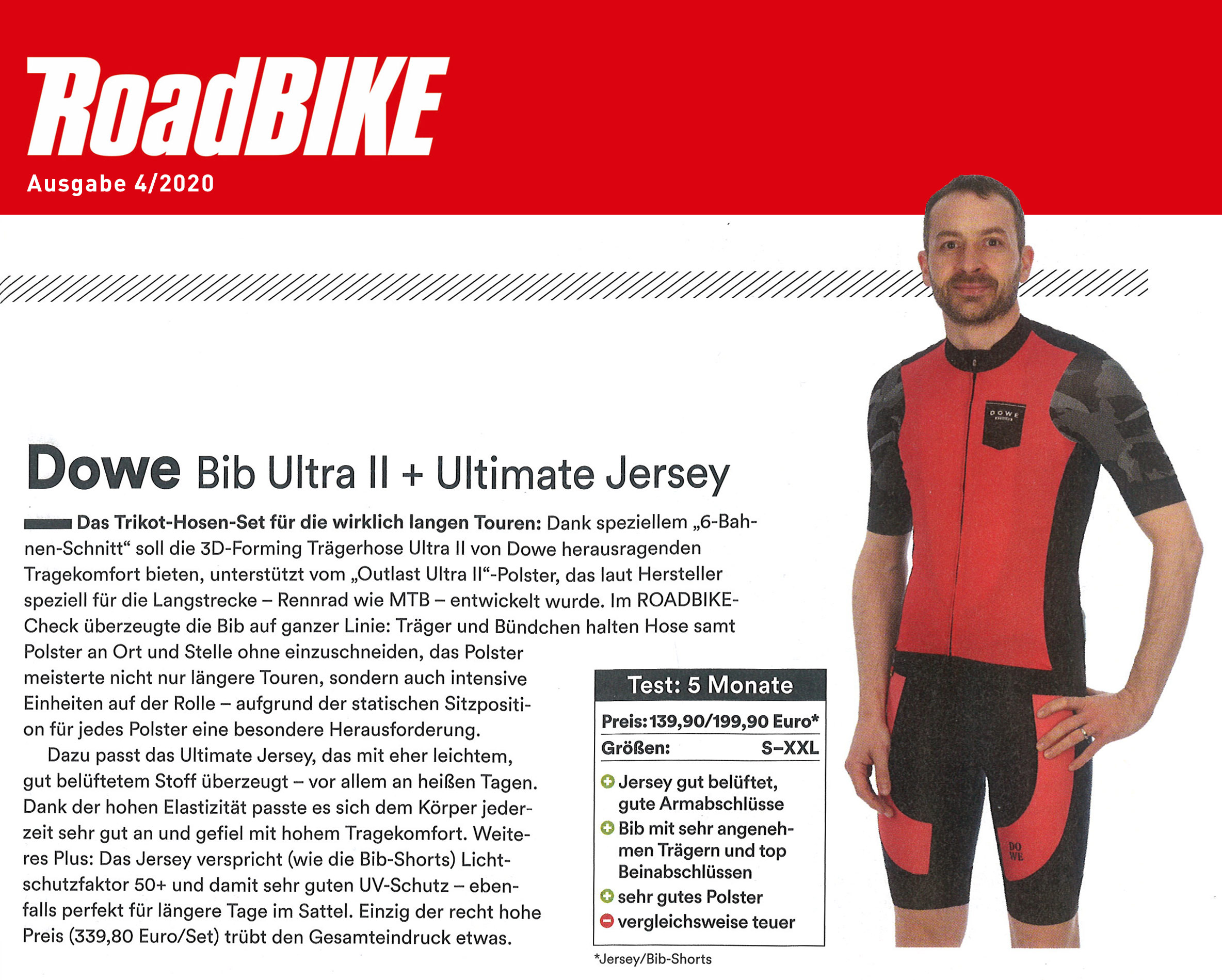 Produkttest DOWE Bib Ultra II + Ultimate Jersey in Zeitschrift RoadBike 4/2020