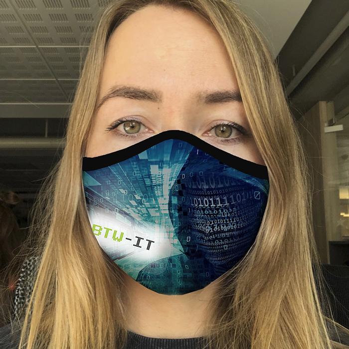 """Community Mask für Firmen - """"BTW-IT aus Glonn"""" von Dowe Sportswear"""