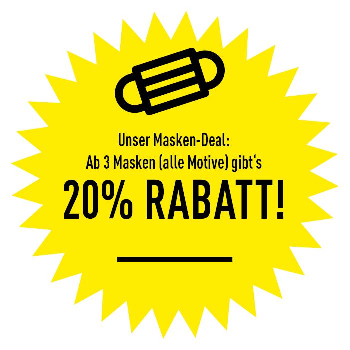 Unser Masken-Deal: Ab 3 Masken (alle Motive) gibt's 20% Rabatt!