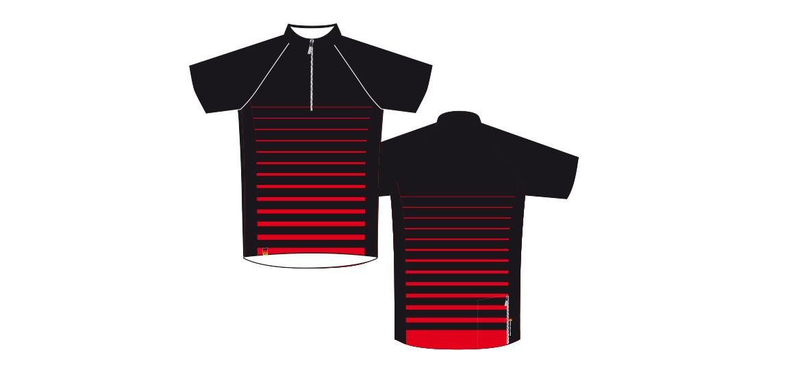 Dowe Sportswear - Designvorlage für Trikots - rot-schwarz